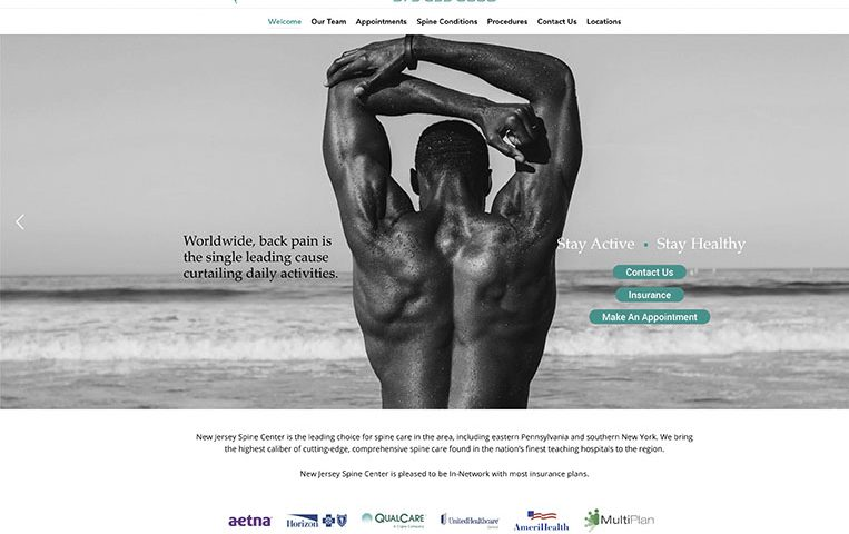 NJ Spine Center Redesign Website
